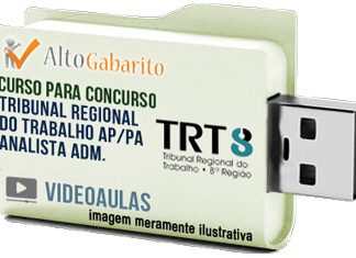 Curso Concurso TRT 8ª Região – PA – AP – Analista Área Administrativa – Videoaulas Pendrive