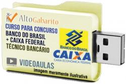 Curso (2 em 1) Concursos Banco Brasil + Caixa – Técnico – Escriturário – Videoaulas Pendrive