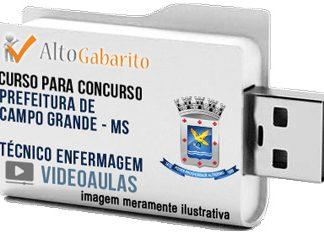 Curso Concurso Prefeitura Campo Grande – MS – Técnico Enfermagem – Videoaulas Pendrive