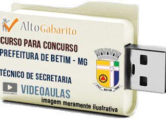 Curso Concurso Prefeitura Betim – MG – Técnico Secretaria – Videoaulas Pendrive